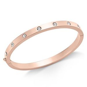 Rose Gold-Tone Bezel-Set Polished Bangle Bracelet